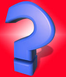 Question mark. In 3D on red background. ? symbol or sign slightly ballooned with blue plastic texture Royalty Free Stock Photography