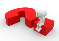 Question mark. 3d people - man, person sitting on a question mark Stock Images