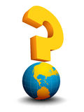 Question mark. Abstract concept with globe and question mark. It can be used for different global problems, questions, processes, such as global warming Royalty Free Stock Photo