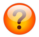 Question Mark. The Glassy Red Question Mark Icon Button