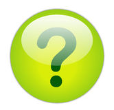 Question Mark. Glassy Green Question Mark Icon Button Stock Images