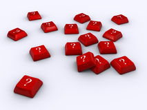 Question mark. Disorderly red computer keyboards with question mark - 3d render Royalty Free Stock Image