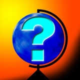 Question mark. On the world. World globe royalty free illustration