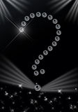 Question mark. Shown with pearls, with stars, sparks and lights Royalty Free Stock Photo