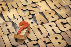Question mark and alphabet in wood type Royalty Free Stock Image