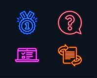 Question mark, Approved and Web lectures icons. Marketing sign. Help support, Winner badge, Online test. Neon lights. Set of Question mark, Approved and Web Stock Images