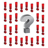 Question mark around exclamation marks illustratio Royalty Free Stock Photo