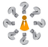 Question mark around an icon. Illustration design over white Stock Images