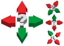 Question Mark and Arrows Stock Photography