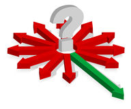 Question Mark and Arrows. Question Mark and Red and Green Arrows - Finding Right Way - Vector Royalty Free Stock Photo