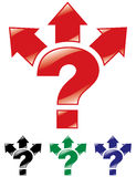 Question mark, and arrows in three directions. Stock Image