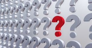 Question mark background 3d render. 3d illustration Royalty Free Stock Photo