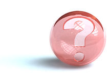 Question mark on ball. A question mark etched on a red ball stock illustration