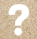 The question mark from beach sand Royalty Free Stock Images