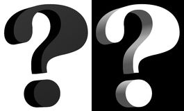 Question mark black and white twins. 3D question mark black and white twins Stock Images