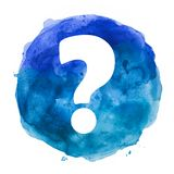 Question mark in watercolor blot. Question mark in blue watercolor blot stock illustration