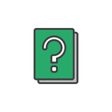 Question mark book filled outline icon, line vector sign, linear colorful pictogram. Symbol, logo illustration. Pixel perfect Stock Photos
