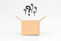 Question mark  with box. Question mark in an open box - Isolated Royalty Free Stock Photo