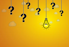 Question mark & bright yellow light bulb with idea text hanging Royalty Free Stock Image
