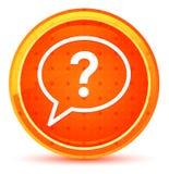 Question mark bubble icon natural orange round button stock illustration