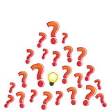 Question mark bulb not clear Stock Photos