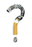 Question mark with burnt cigarettes. Conceptual image Stock Photography