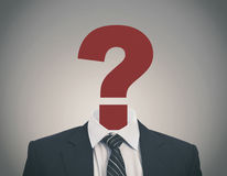Question mark. Business man with a question mark in place of head sugesting confusion Stock Images