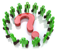 Question mark and the business people. At registration information related to issues and business Royalty Free Stock Images