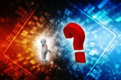 Question mark with businessman, Confusion Concept. 3d render royalty free illustration