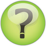 Question mark button. Question mark on circular green button, isolated on white background Stock Photos