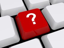 Question mark button on keyboard. 3d illustration of red question mark button on keyboard Stock Photos