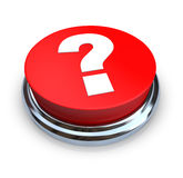 Question Mark Button - Red. A round, red question mark button on a white background Stock Photography