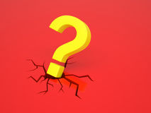 Question mark causes a crack Royalty Free Stock Image