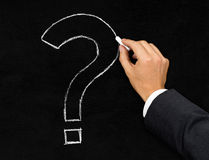 Question mark chalk drawing on blackboard Royalty Free Stock Photos