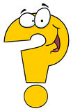 Question mark character. Question mark cartoon character in yellow Stock Photo