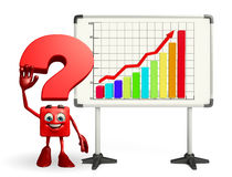 Question Mark character with business graph Stock Image
