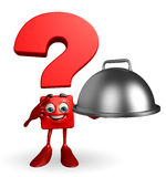Question Mark character with dish pan Royalty Free Stock Photography