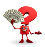 Question Mark character with dollar Royalty Free Stock Images