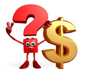 Question Mark character with dollar sign Stock Photography
