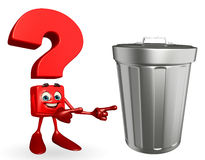 Question Mark character with dustbin Stock Images
