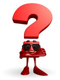 Question Mark character with folding hand Royalty Free Stock Photography