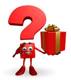 Question Mark character with gift box Stock Image