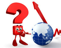 Question Mark character with globe and Arrow Stock Images