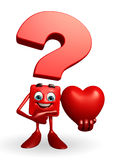 Question Mark character with heart Stock Image