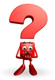 Question Mark character with holding hand Royalty Free Stock Image