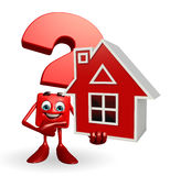 Question Mark character with home Royalty Free Stock Image