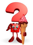 Question Mark character with Ice Cream Stock Images