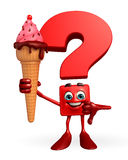 Question Mark character with Icecream Stock Photos