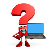 Question Mark character with laptop Royalty Free Stock Image
