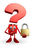 Question Mark character with lock Stock Photography